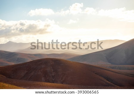 Beautiful landscape with soft mountains on the central part of Fuerteventura island in Spain