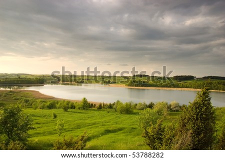Beautiful Landscape with storm clouds - stock photo
