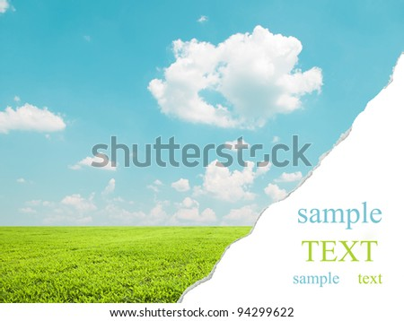 Beautiful landscape with teared corner for your text space - stock photo
