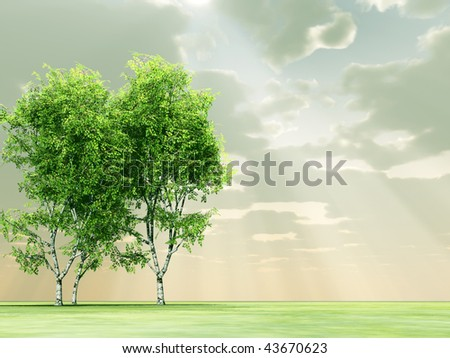 Beautiful landscape with trees - stock photo