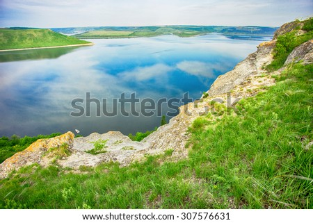 Beautiful landscape with views of the river from the shore - stock photo