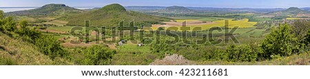 Beautiful landscape with volcanoes from Hungary - stock photo