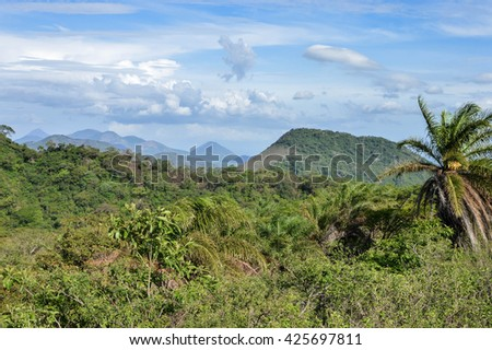 Beautiful landscapes of various volcanic peaks in the distance seen from the top of Telica Volcano, in San Jacinto near Leon, Nicaragua - stock photo