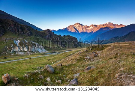 Beautiful landscapes with high mountains of Georgia, Europe. Caucasus mountains. Beauty world.