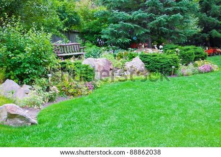 Beautiful Landscaping at Skagway Botanical Gardens, Alaska - stock photo