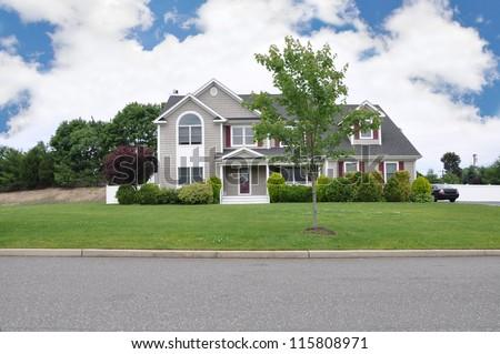 Beautiful Large Luxury Suburban Home in USA - stock photo