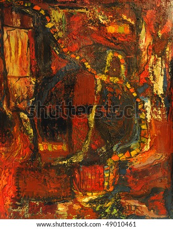Beautiful Large scale Abstract painting On Canvas - stock photo