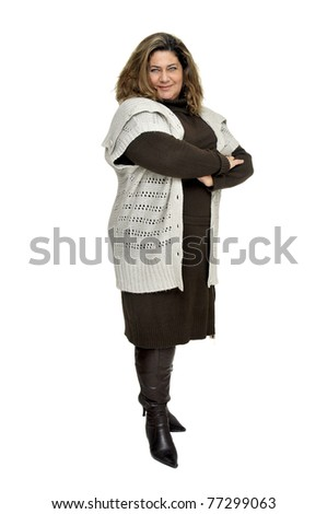 Beautiful large woman isolated in white - stock photo
