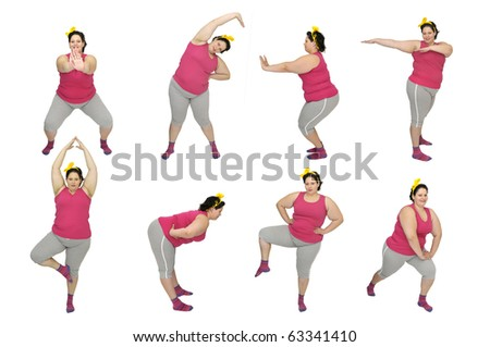 Beautiful large young woman doing fitness exercises isolated in white - stock photo