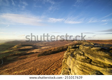 Beautiful late evening Autumn evening over Stanage Edge Peak District - stock photo
