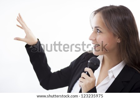 Beautiful latin business woman during a presentation - stock photo
