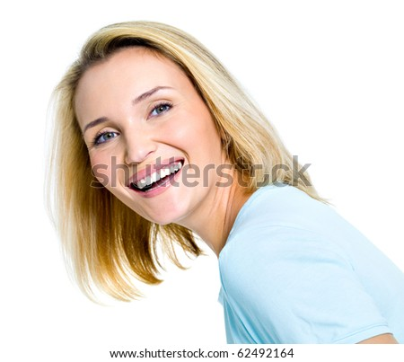 Beautiful laughing woman portrait on white background - stock photo