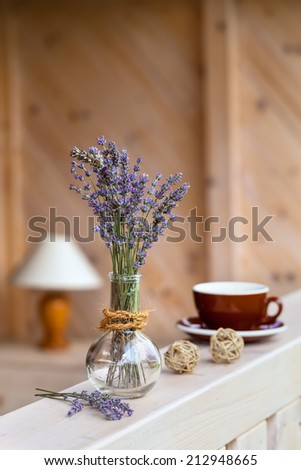 Beautiful lavender bunch in rustic home style setting - stock photo