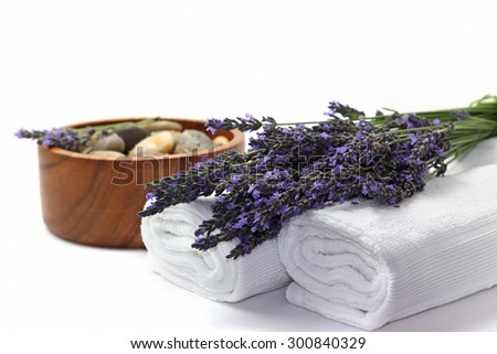 Beautiful lavender spa set on white background - stock photo