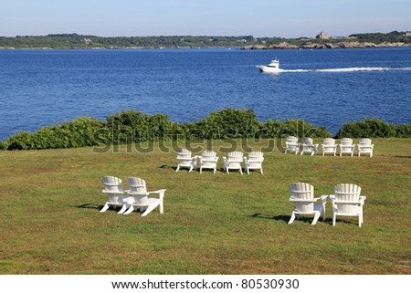Beautiful lawn overlooking the channel at Castle Hill, in Newport, Rhode Island - stock photo