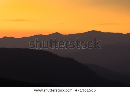 beautiful layer of the mountain in sunset