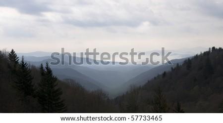 Beautiful layered Smoky Mountains panaramic, - stock photo