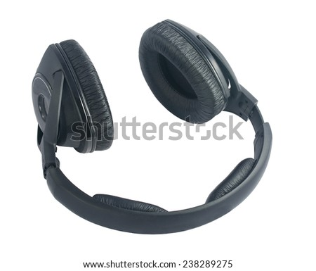 Beautiful leather black headphones isolated on white background - stock photo