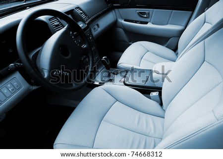 Beautiful leather interior of the modern car - stock photo