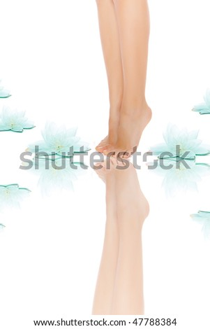 beautiful legs with a flower - stock photo