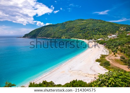 Beautiful Lichnos beach near Parga village, Greece. - stock photo