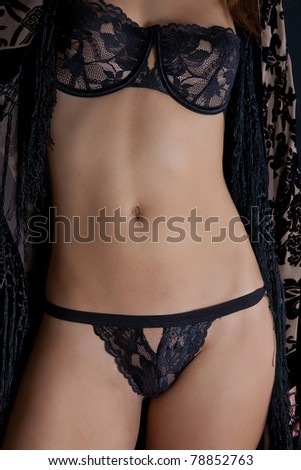 Beautiful Ligerie Model Close up wearing Black - stock photo