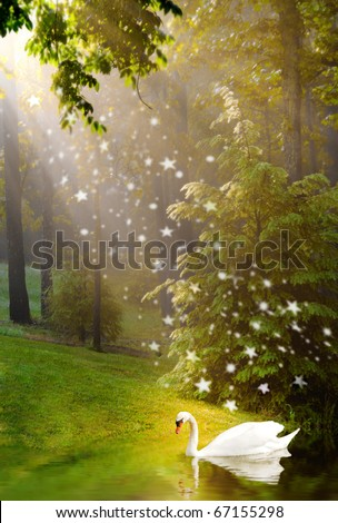 Beautiful light and golden pixie dust shower on swan - stock photo