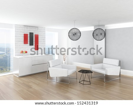 Beautiful light living room interior with nice furniture - stock photo