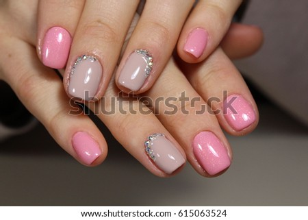 Beautiful Light Pink Nails With Rhinestones Manicure Design
