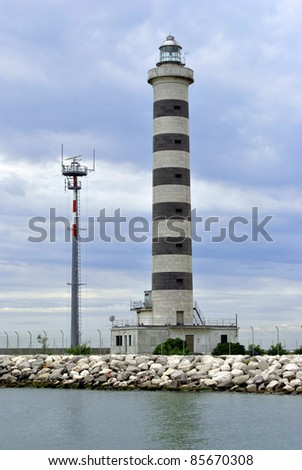 beautiful lighthouse in Italy - stock photo