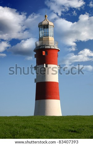 Beautiful Lighthouse in Plymouth, Devon,  UK - stock photo