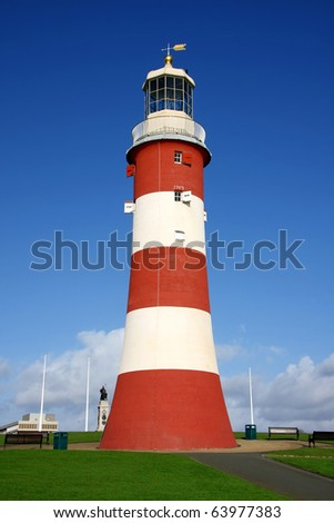 beautiful lighthouse in Plymouth, UK - stock photo