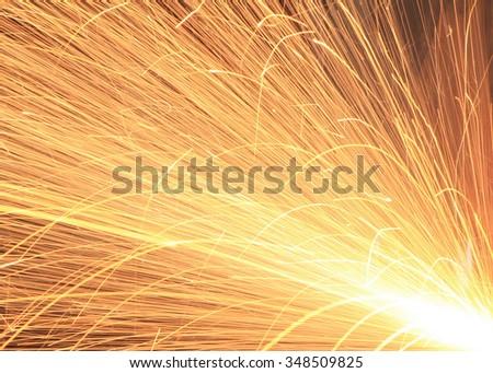 beautiful lighting from spark welding - stock photo