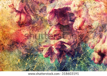 beautiful lilac flowers and watercolor spatter - stock photo