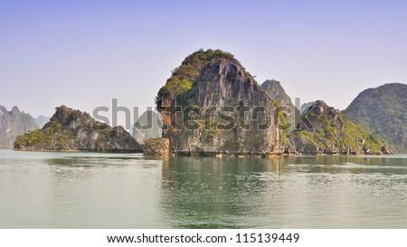 Beautiful Limestone Rock Outcrops, Halong Bay, Vietnam - stock photo