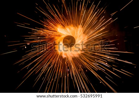 Beautiful line light of Christmas and New Year party burning sparkler circle style on black background.