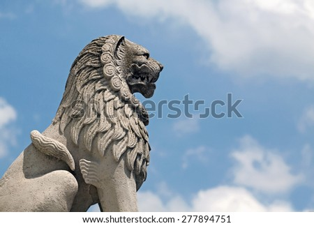Beautiful lion statue in Budapest, Fisherman's Bastion - stock photo