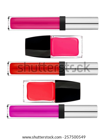 Beautiful lip gloss and nail polish isolated on white background - stock photo