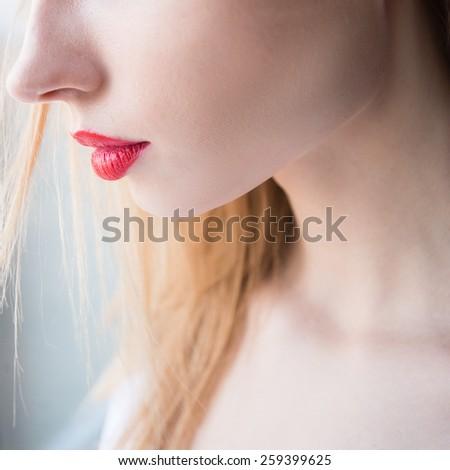 beautiful lips - stock photo
