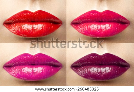 beautiful lips collection color wine, fuchsia, pink, red - stock photo