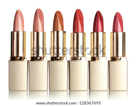 Beautiful lipsticks, isolated on white - stock photo