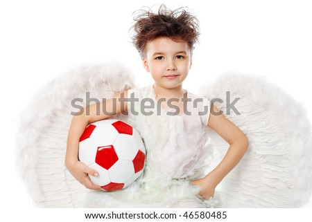 Beautiful little angel holding a ball. Isolated over white background.