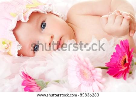 beautiful little baby girl - stock photo