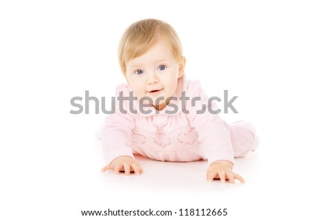 beautiful little baby learns to crawl isolated on white background