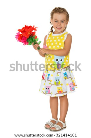 Beautiful little blonde girl in summer clothes holding a bouquet of red flowers-Isolated on white background