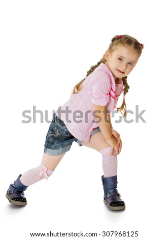Beautiful little blonde girl with tiny braids on her head . The girl dressed in a short denim shorts , a pink sweater and gray boots-Isolated on white background