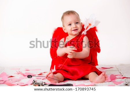 beautiful little boy dressed as Cupid - stock photo