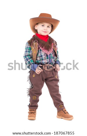 Beautiful little boy posing in cowboy costumes. Isolated on white - stock photo