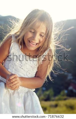 beautiful little bridesmaid - stock photo