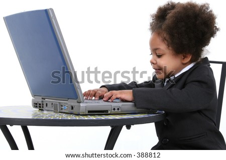 Beautiful Little Business Woman Working On Laptop.